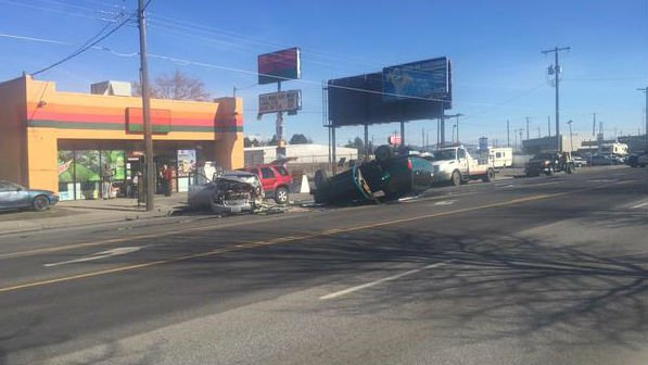 A three car collision on Sprague near Kmart blocked traffic on Friday morning