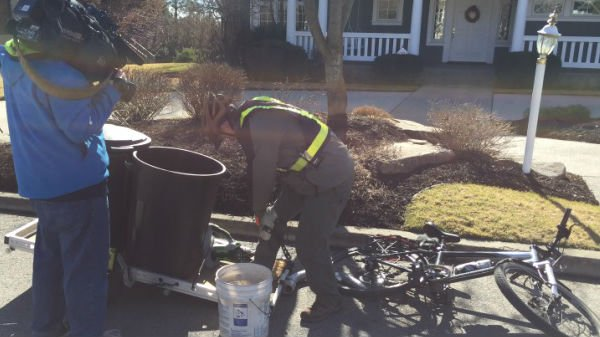 Tad's Landscape Service is a one-man, two-wheel show.