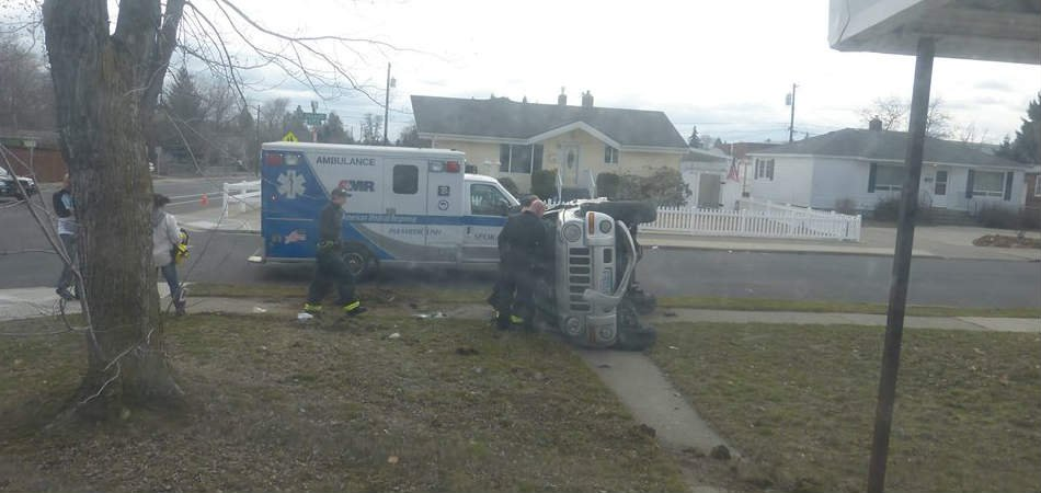Photo of flipped Jeep after a T-bone crash in north Spokane (PHOTO courtesy: Gavino Garcia/Facebook)
