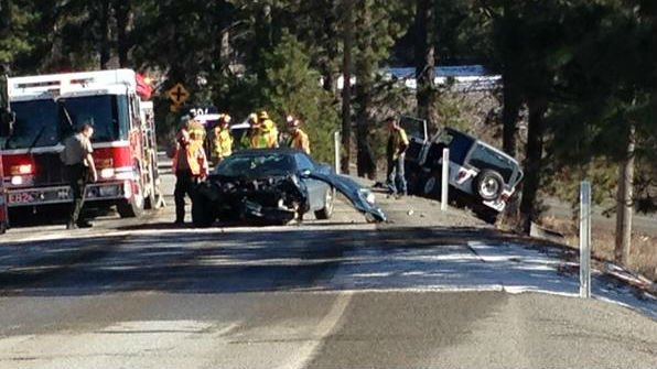Four people were taken to the hospital following this crash on the Palouse Highway Tuesday afternoon