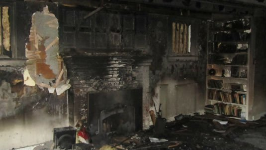 Damage caused by an accidental house fire in Coeur d'Alene.