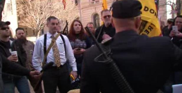Armed protesters gather in downtown Spokane