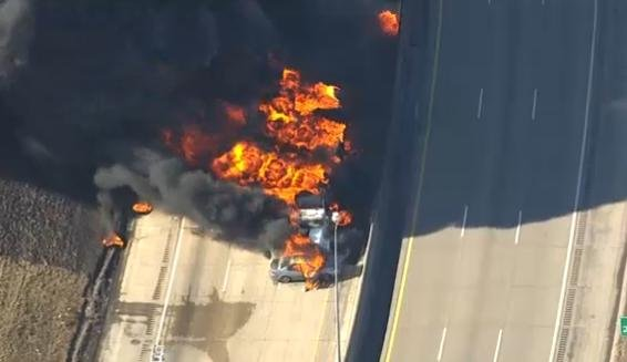 A burning tanker truck closed a stretch of Interstate 94 near the border between Detroit and the suburb of Dearborn.