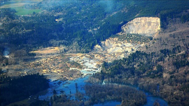 Aerial view of the Oso mudslide. Photo: Washington DOT/MGN