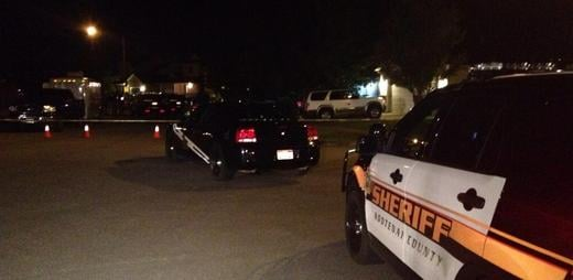 A photo of the scene the night Thomas L. White was shot by Coeur d'Alene Police
