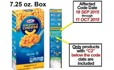 Kraft is recalling 242,000 cases of macaroni and cheese. Photo: Kraft Foods