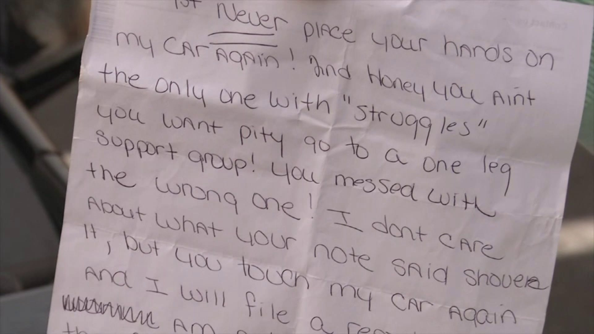 The letter left on Ashley's car. (PHOTO: Facebook)