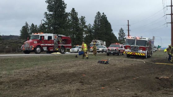 The scene of a serious injury crash Trent and Harvard in Spokane Valley