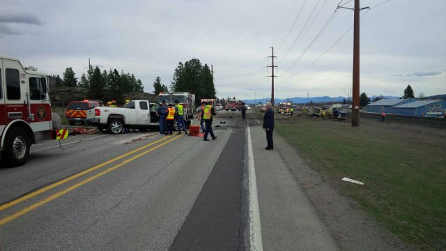 Two men were taken to the hospital after this crash on Trent Thursday afternoon. PHOTO: Washington State Patrol