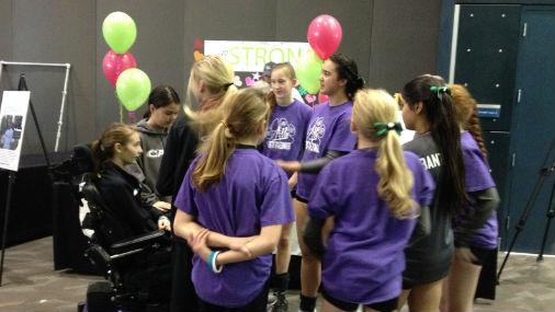 Alli McKernan with her Mountainside volleyball teammates Friday,