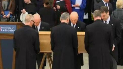 King Richard III's remains are being transferred to a cathedral in central England. Photo: NBC