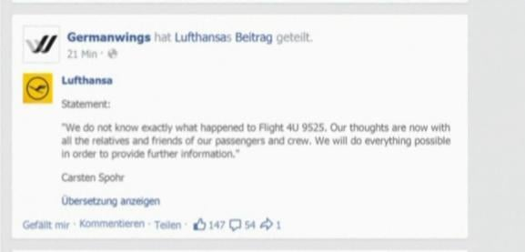 The statement from Germanwings' Facebook Tuesday morning