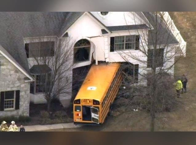 School bus crashes into a house in Montgomery County, PA, Photo Date: March 24, 2015