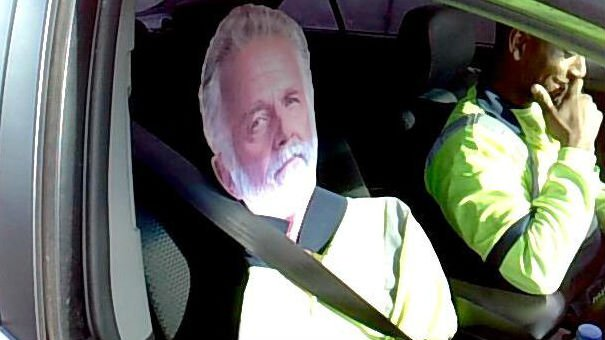 Riding and getting an HOV lane law violation ticket with The Most Interesting Man In the World (PHOTO: Washington State Trooper Guy Gill)