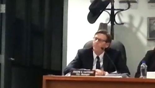 Joe Gavinski during Tuesday night's termination hearing