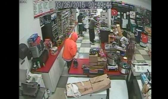 Two of the three men in this robbery are still at large in the Tampa area.