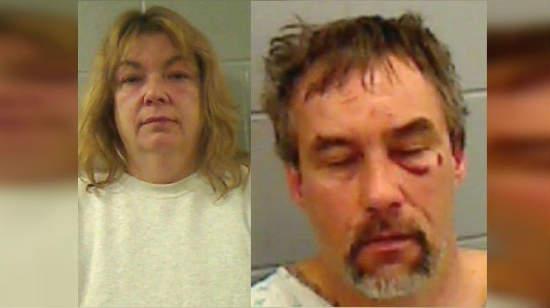The Lincoln County Sheriff's Office in Maine said Linda Currier (LEFT) ran over her boyfriend, Jame Oliver (RIGHT). (PHOTO: Lincoln County Sheriff's Office in Maine)