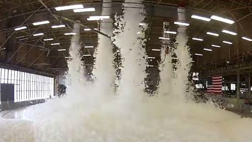 Fairchild AIr Force Base filled a hangar with fire suppression foam. Photo: YouTube/Fairchild Air Force Base