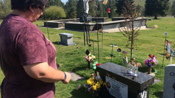 Tina Clouse feels closest to her son Justin when she visits his gravesite at Riverside Memorial Park.
