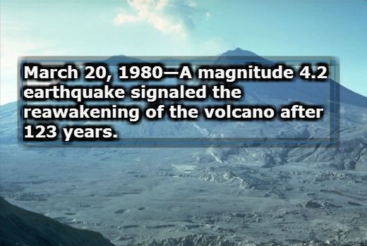 March 20, 1980—A magnitude 4.2 earthquake signaled the reawakening of the volcano after 123 years.