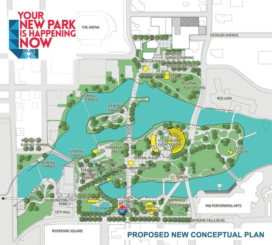 The proposed conceptual plan for Riverfront Park in Spokane