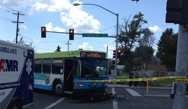 An STA bus and a motorcyclist collided near Euclid and Crestline Friday morning, killing the motorcyclist
