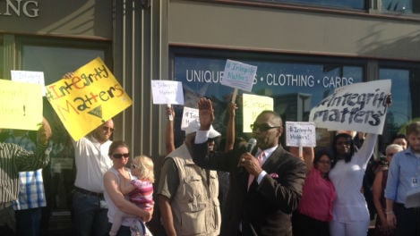 Dozens turned out to the solidarity demonstration in downtown Spokane in response to Rachel Dolezal.