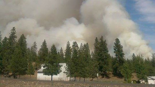 The homes near Scriber Road near Cheney had a front seat view to the Fish Lake fire.