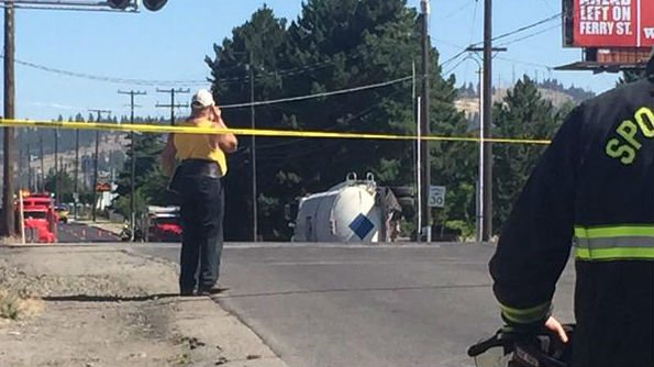 A tanker truck was hit by a train at the Sprague and Havana crossing Friday morning