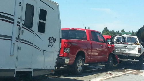 Part of the collision on I-90 near Post Falls. Photo: Cindy Langford Dilg