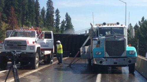 The scene of a semi crash hauling bees.