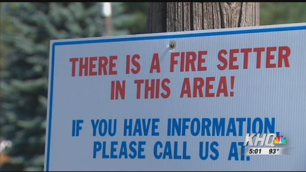 Firefighters say all the fires share a similar pattern; they all started between four and nine o'clock at night and they were all adjacent to the road. To help catch however is behind this they've posted signs across town and urge residents to report any