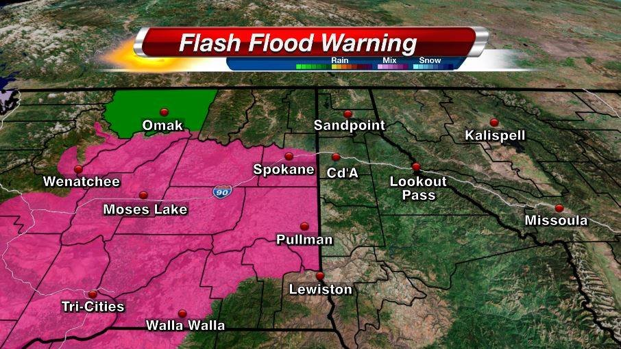 A flash flood warning has been put into effect for Okanogan County, with one to two inches of rain in the forecast.