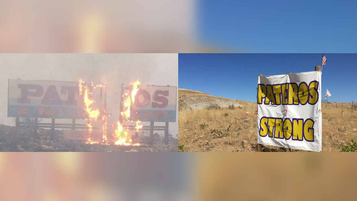 The Pateros sign in 2014 during the Carlton Complex Fire, and the new temporary sign in 2015