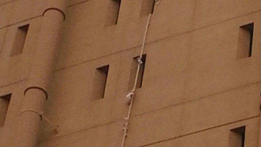 Bed sheets could be seen hanging from the Spokane County Jail Thursday morning.
