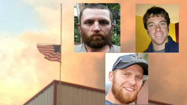 Andrew Zajac (Left), Tom Zbyszewski (Right) and Richard Wheeler (Bottom) died while fighting a fire near Twisp on Wednesday