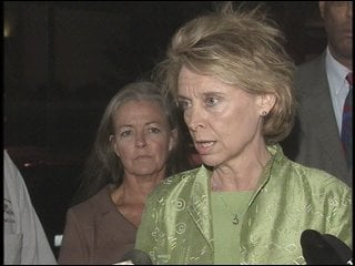 Gov. Chris Gregoire addressed the media Thursday night upon arriving in Spokane to tour the fire area.