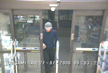 Surveillance captured this photo of the suspect during the July 26th robbery.
