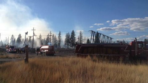 The scene of a brush fire south of Long Lake Saturday.