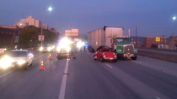 Traffic on I-90 was backed up for hours Tuesday morning after a wrong way driver caused a crash