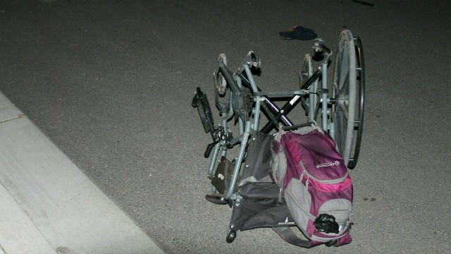 A person in a wheelchair was involved in a hit and run crash Monday night. Photo: SPD