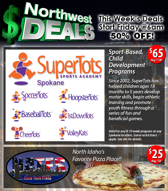 50% off at SuperTots or Nate's NY Pizza