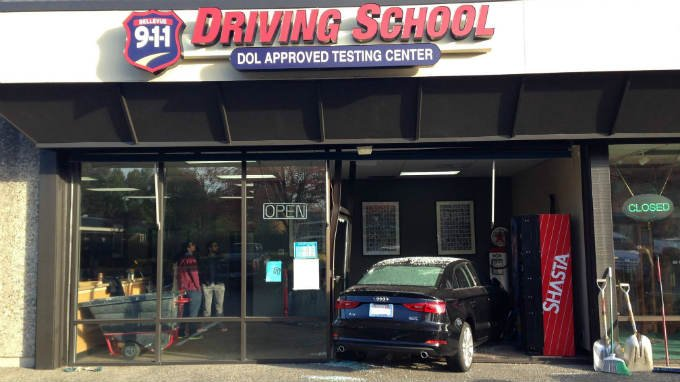 If you drive through the front window of your driving school, you're gonna have a bad time (PHOTO: Bellevue Police Department)
