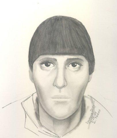 Sketch of suspect in prior pharmacy robberies (Courtesy: Spokane Police Department)