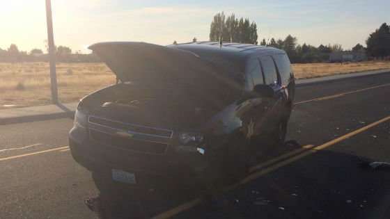 This patrol car was damaged in a pursuit Saturday morning.
