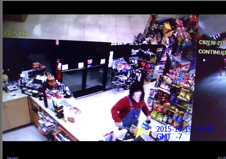 This is a photo of the would-be-thief inside a Coeur d'Alene gas station Monday morning.