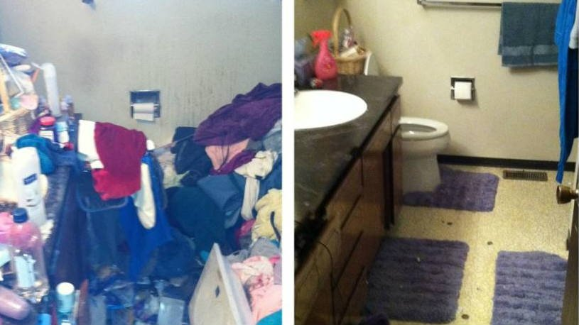 A before and after photo of a hoarding case