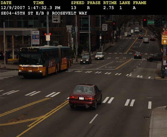 This car was recorded running a red light in Seattle.