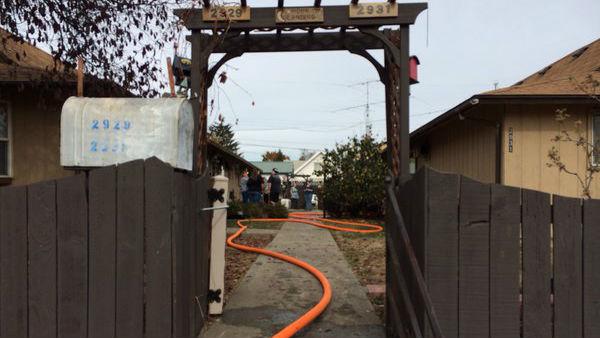 The scene near Rowan and Regal following a duplex fire on Friday