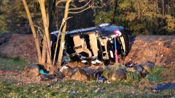 Photo of the car from the rollover scene on Bigelow Gulch Road